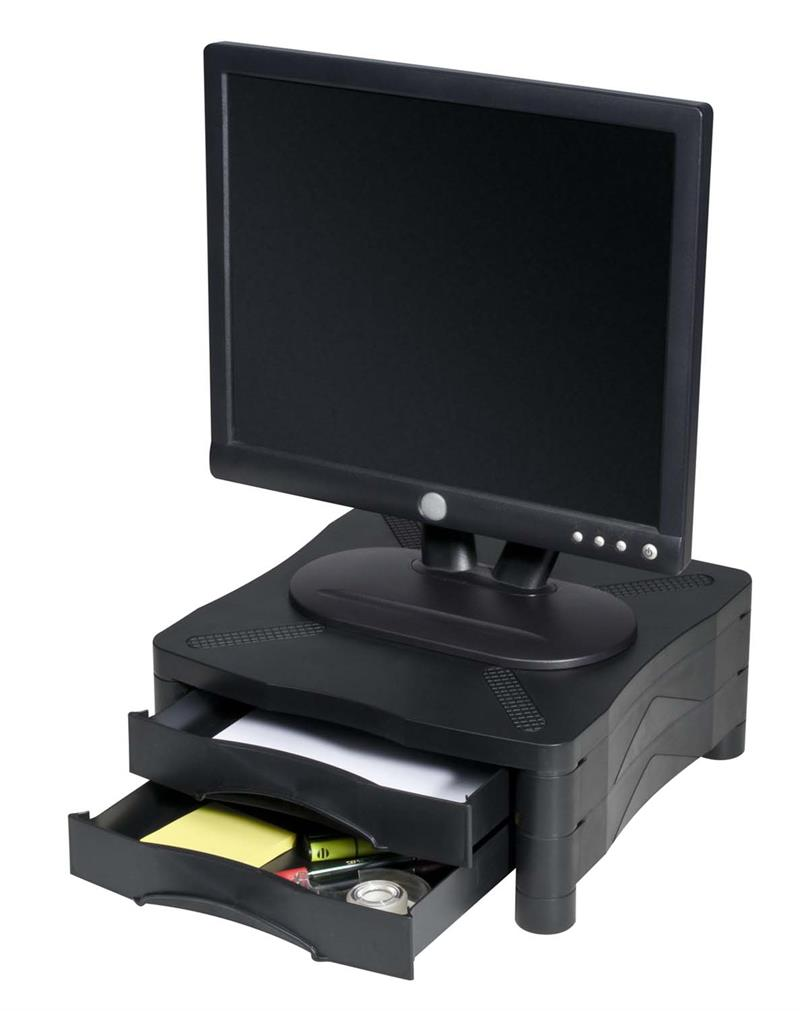Height Adjustable Monitor Stand Dual Drawer