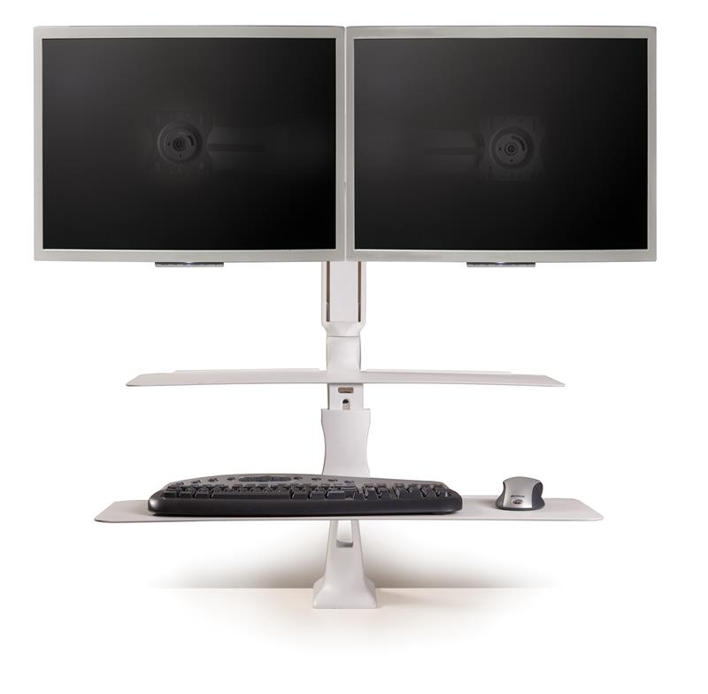 Sit Stand Workstation With Dual Monitor Arm Supports