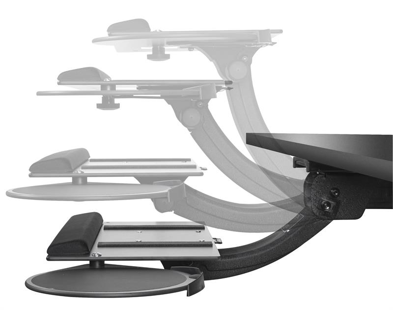 Sit Stand Leverless Curved Keyboard Tray